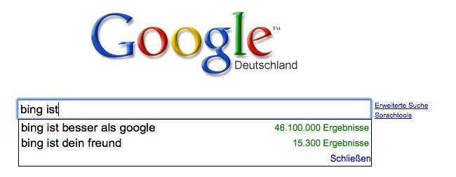 Bing ist besser als Google