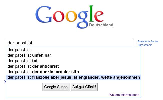 Der Papst ist Franzose aber Jesus ist Engländer. Wette angenommen.