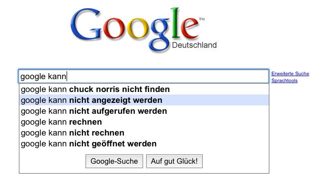 google kann nicht angezeigt werden