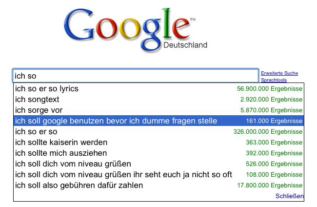 Ich soll Google benutzen bevor ich dumme Fragen stelle