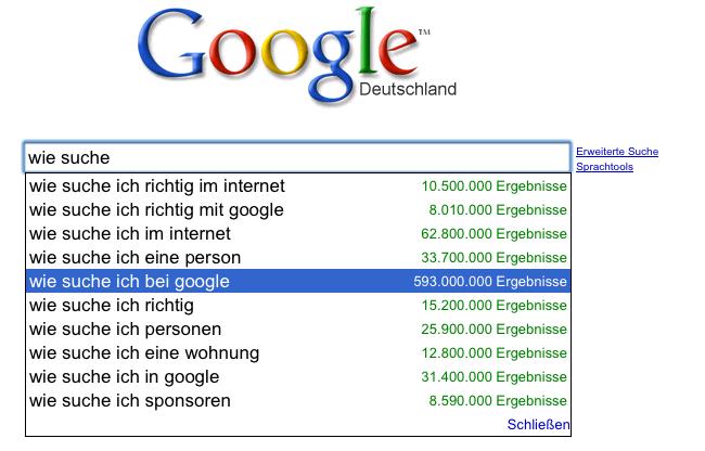 Wie suche ich bei Google